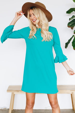 Shift Dress with Back Detail - Green