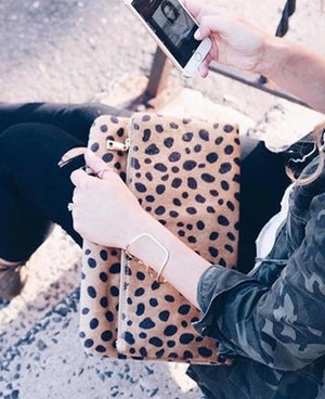Fold Over Leopard Clutch