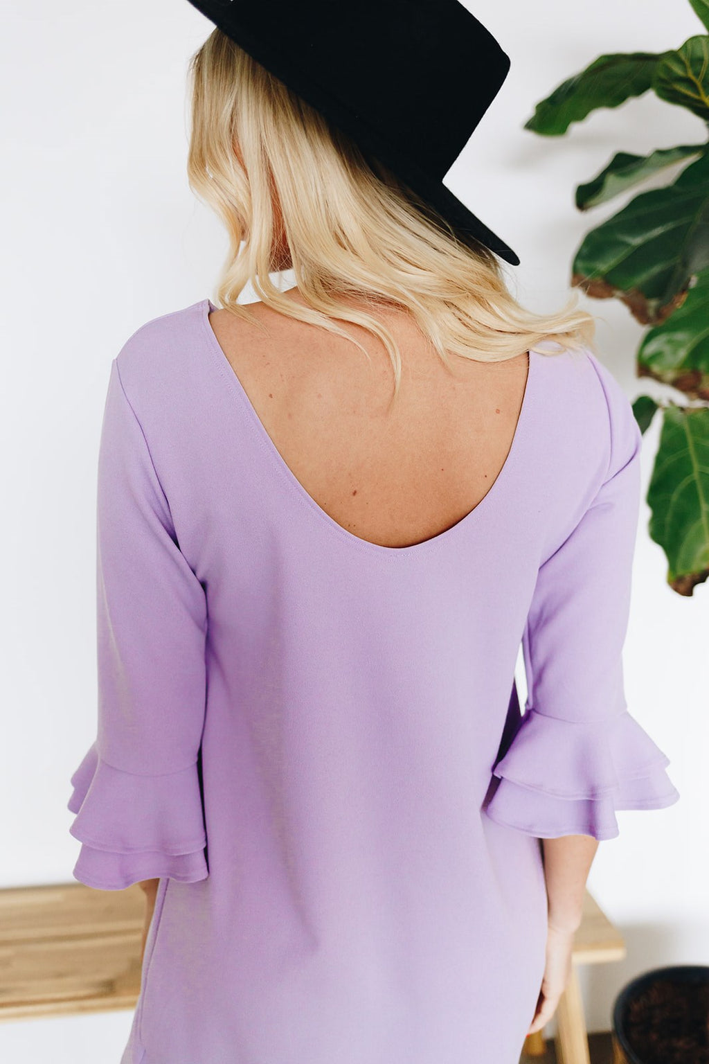 Shift Dress with Back Detail - Dusty Lilac