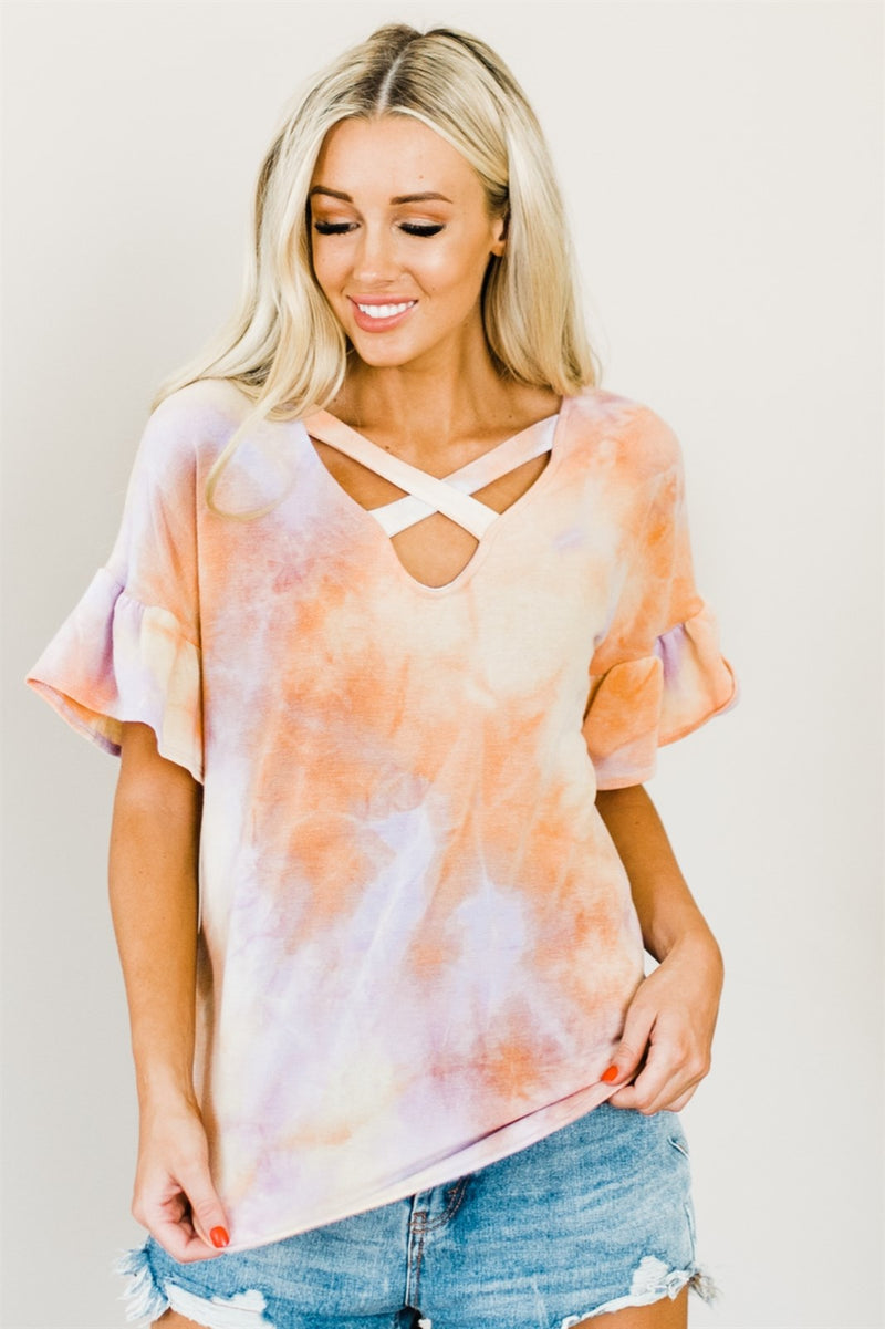 Tie Dye Criss Cross Top - Pink