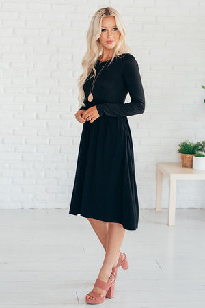 Emily Long Sleeve Midi Dress with Pockets   - More Colors