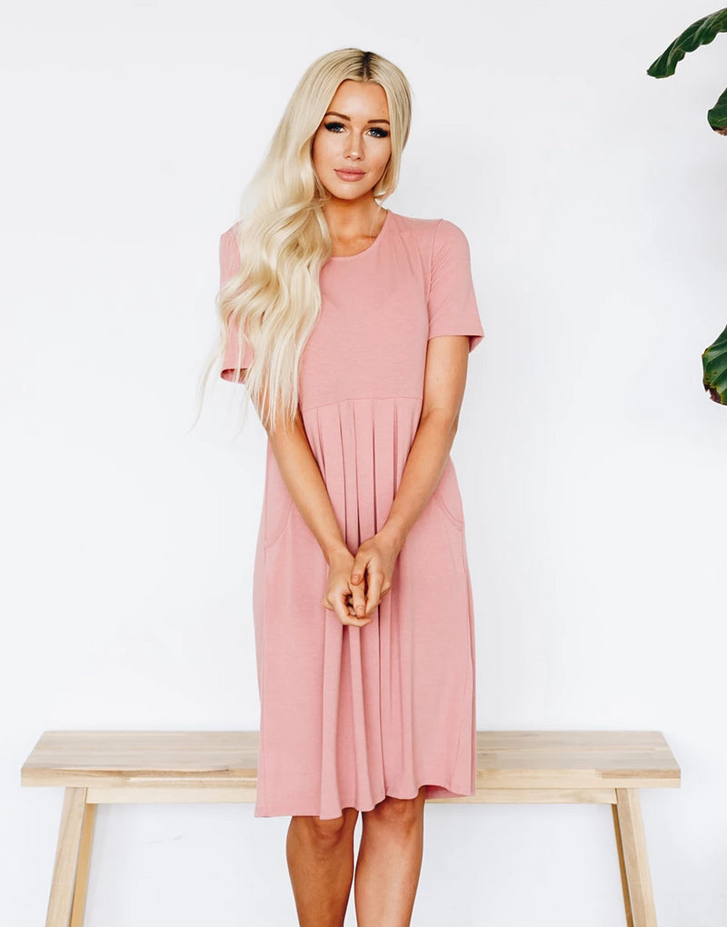 Elsa Pleated Dresses with Pockets - More Colors