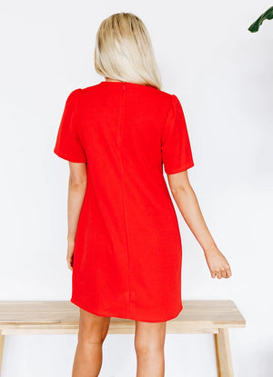 Lovely Shift Dress with Invisible Back Zipper - Red