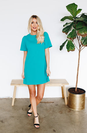 Lovely Shift Dress with Invisible Back Zipper - Green