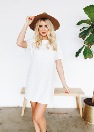 Lovely Shift Dress with Invisible Back Zipper - White