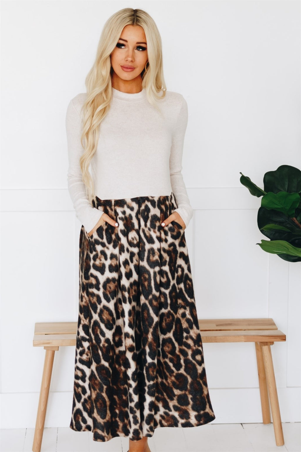 Leopard Knee Sweater Dress