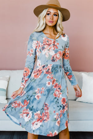 Vintage Floral Dress with Pockets - Grey
