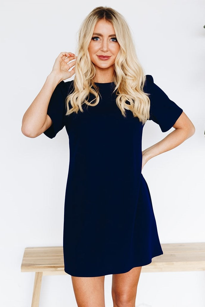 Lovely Shift Dress with Invisible Back Zipper - Navy