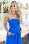 Oh So Perfect Strapless Maxi Dress with Pockets - Cobalt - Viva La Jewels Boutique