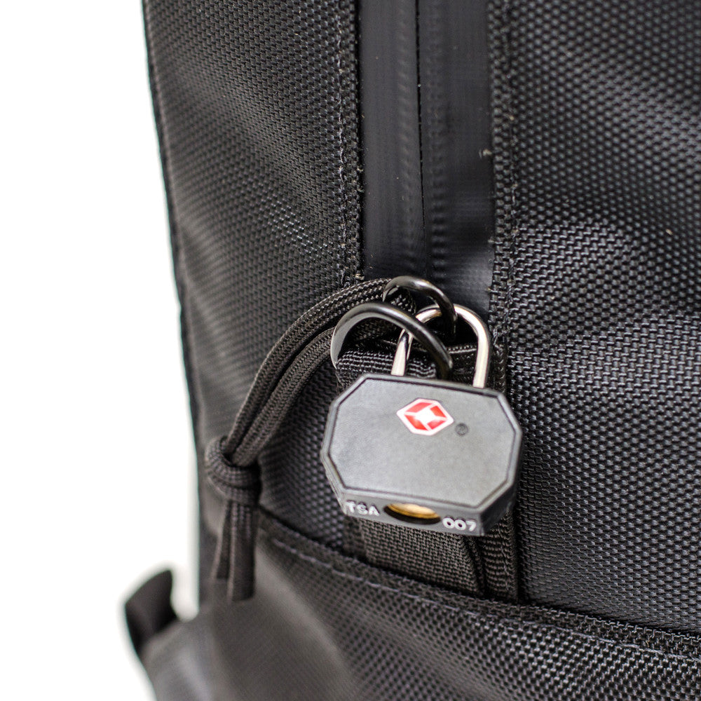 Black Ballistic Nylon Backpack Lock