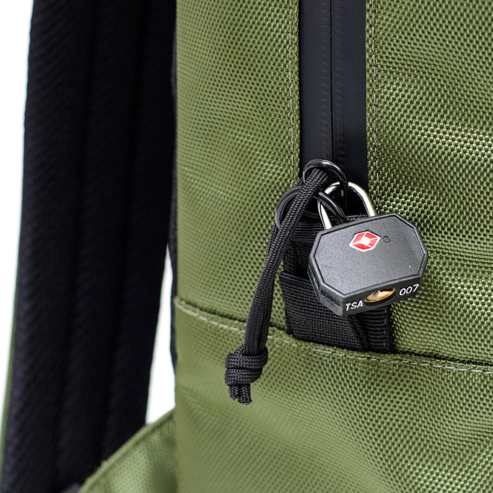 OD Green ballistic backpack lock