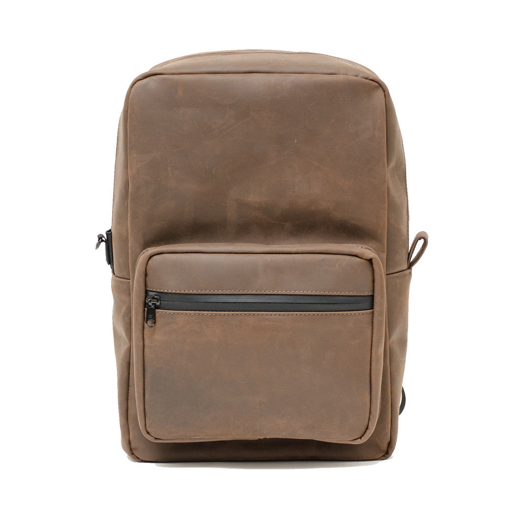 Brown leather smell proof backpack