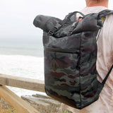 Roll Top Odor Concealing Backpack Black Forest Camouflage Lifestyle