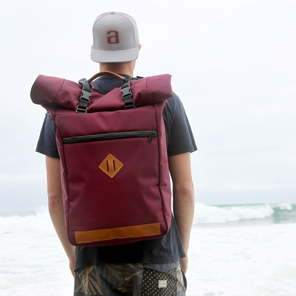 Roll Top Smell Hiding Backpack Crimson Burgundy Lifestyle