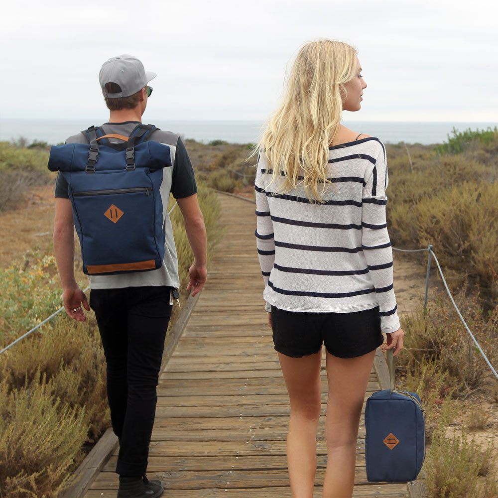 Scent Proof Carbon Toiletry Midnight Navy Blue Bag Surf with Blonde Girl