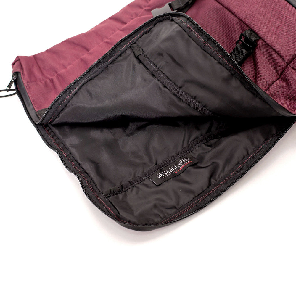Roll Top Smell Hiding Backpack Crimson Burgundy Open