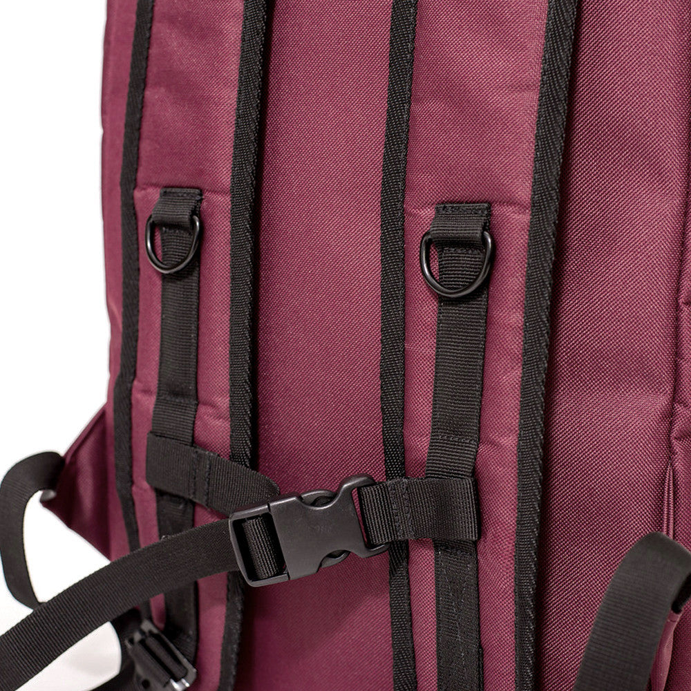 Roll Top Smell Hiding Backpack Crimson Burgundy Chest Strap