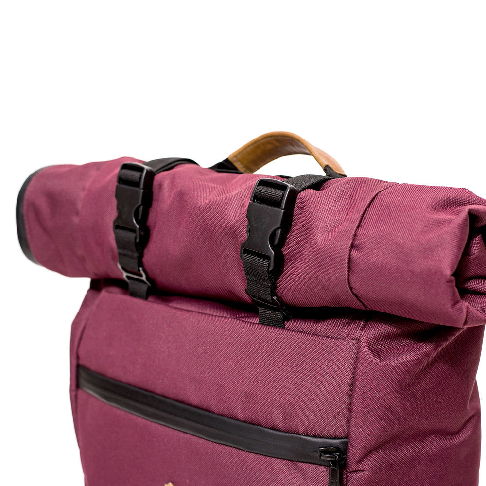 Roll Top Smell Hiding Backpack Crimson Burgundy Handle