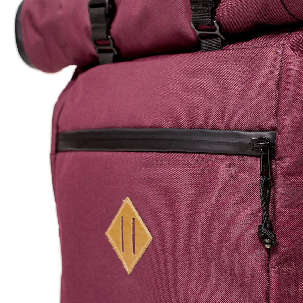 Roll Top Smell Hiding Backpack Crimson Burgundy Lash Tab
