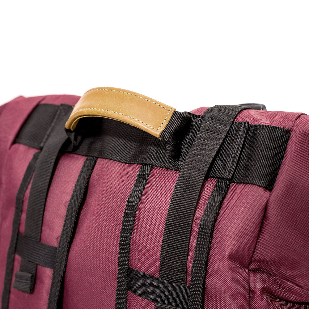 Roll Top Smell Hiding Backpack Crimson Burgundy Handle Straps