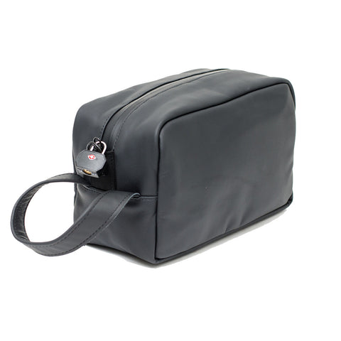 LEATHER MINI TOILETRY BAG - STONE GREY
