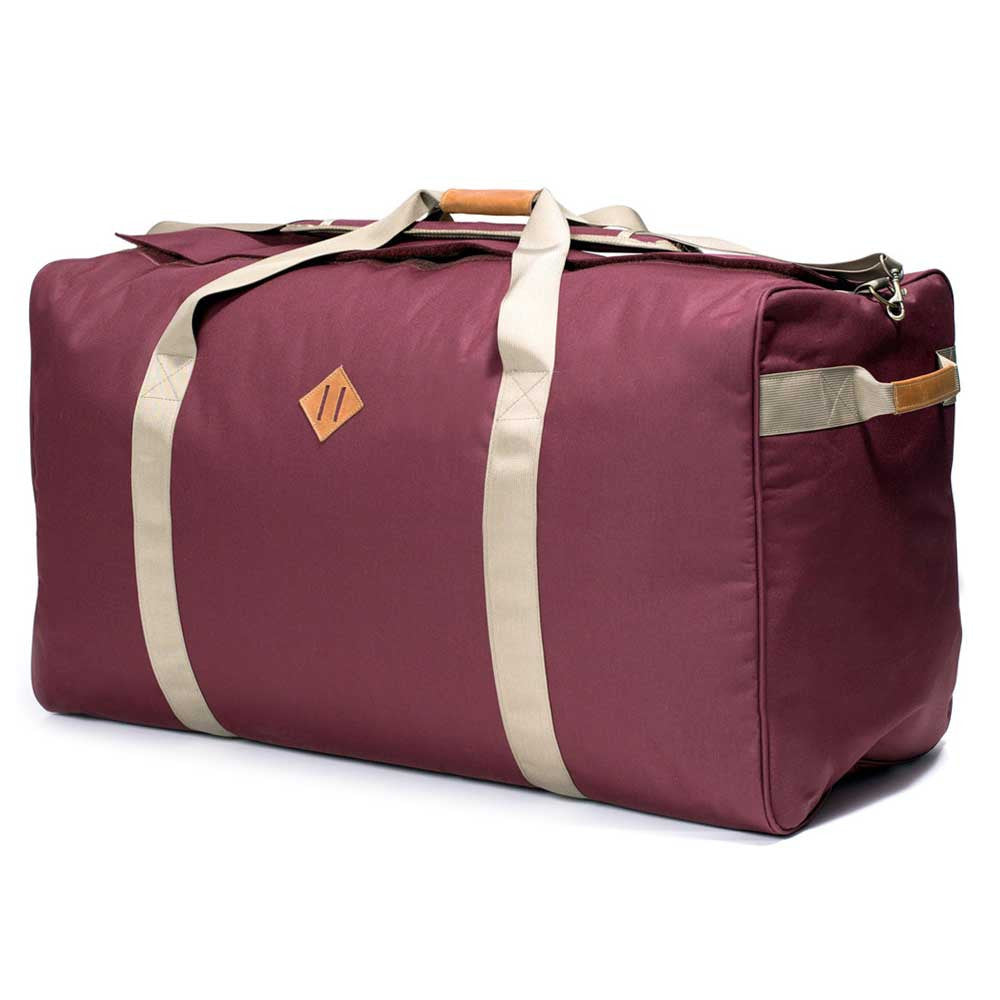 Odor absorbing crimson duffle bag