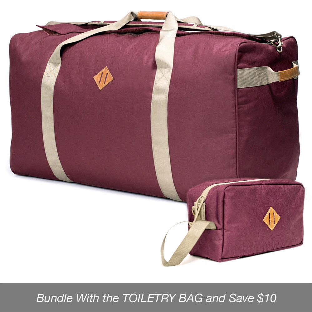 Odor absorbing crimson duffle bag and toiletry