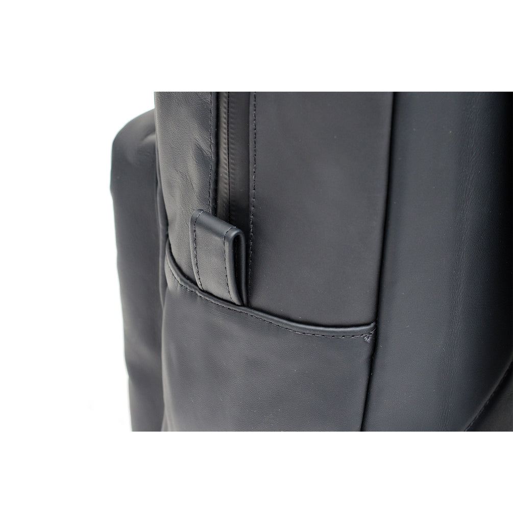 Black Leather Smell Proof School Bag