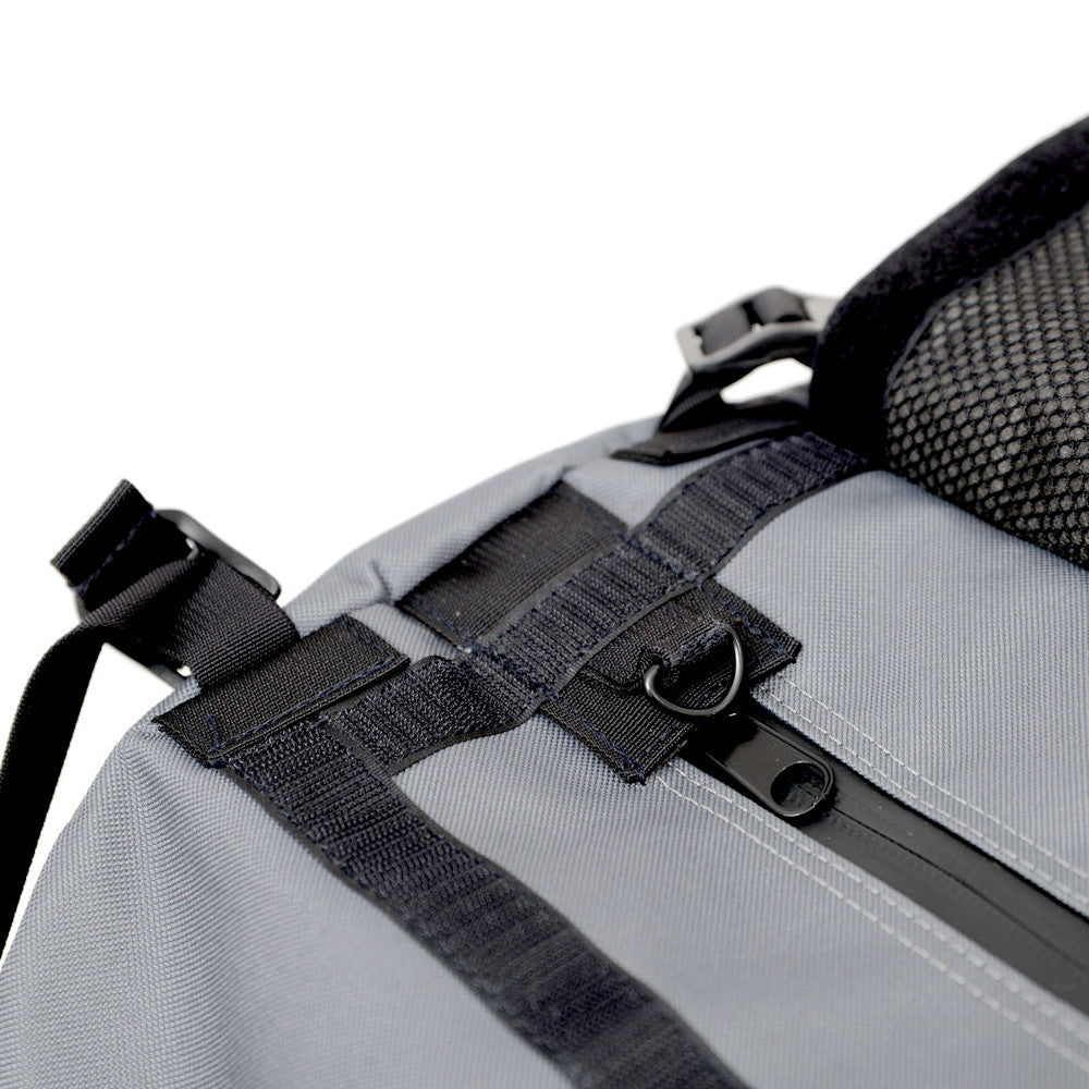 Smell Absorbing Grey Duffel Waterproof Zipper Open Detail