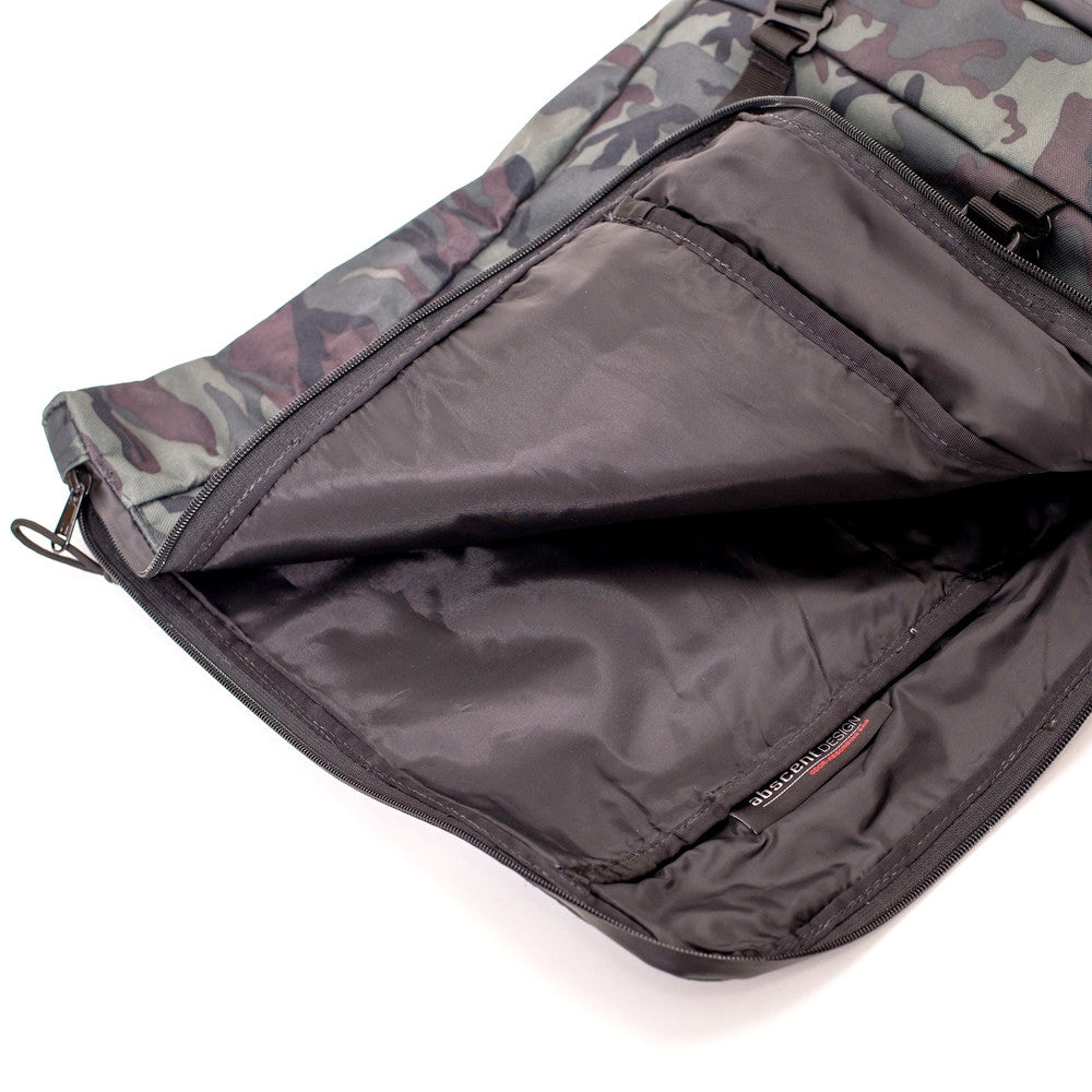 Roll Top Odor Concealing Backpack Black Forest Camouflage Opening