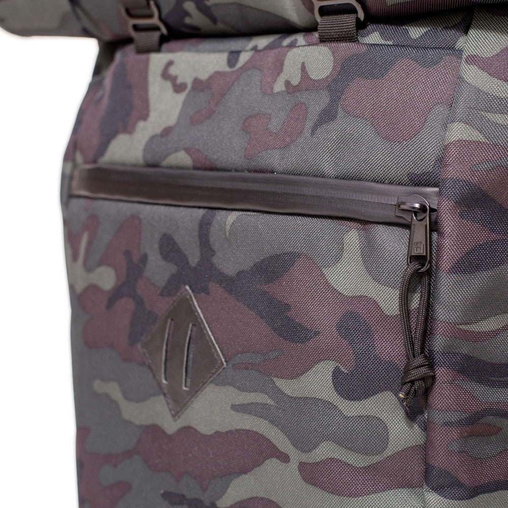 Roll Top Odor Concealing Backpack Black Forest Camouflage Pocket