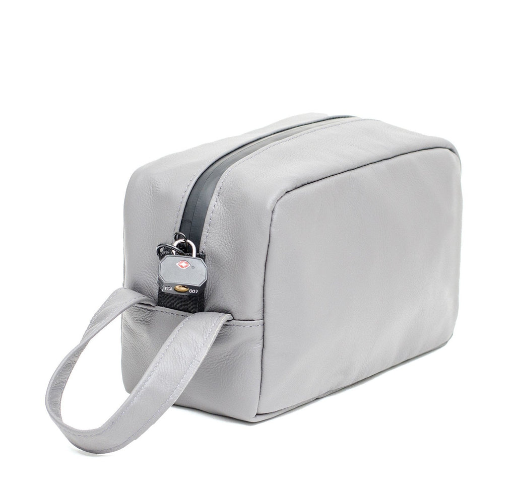 Grey Leather Carbon Lined Toiletry