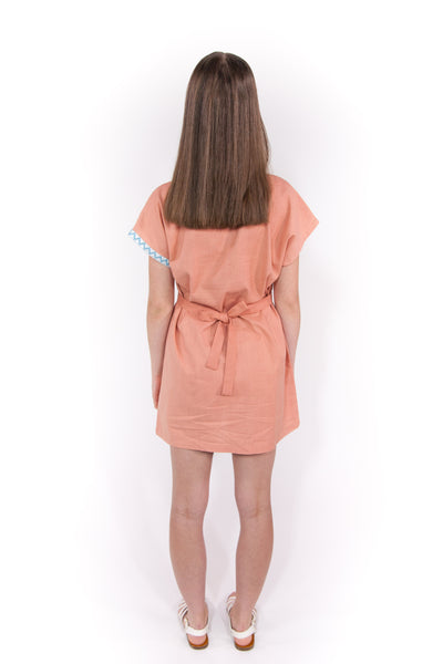 V-Neck Dress With Waist Tie in Coral