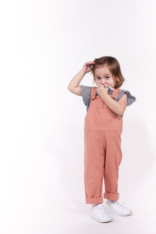 Kids Overalls in Coral (Unisex)