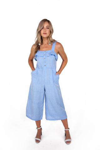 Sky Blue Jumpsuit with Frill Detail and Culotte Leg