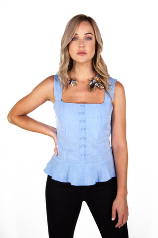 Sky Blue Peplum Top