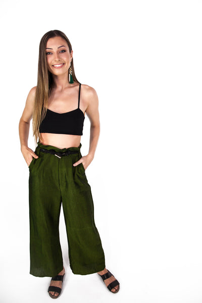 Tailored Wide Leg Trousers with Paper Bag Waist