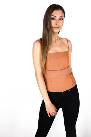 Cami Top with Shirring in Burnt Orange