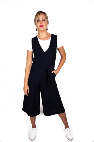 Midnight Blue Jumpsuit w/ Waist Tie and Culotte Leg