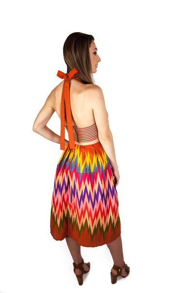 Sunset Aztec Halter Dress