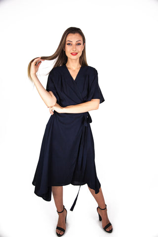 Midnight Wrap Dress With Kimono Sleeve