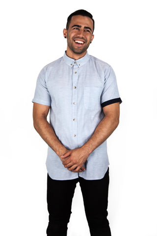 Mens Regular Fit Grey/Blue Shirt
