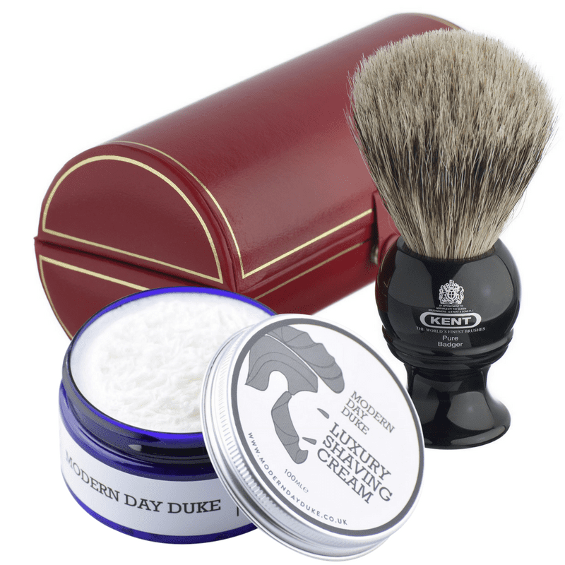 Kent Pure Grey Badger Shaving Brush and shaving cream