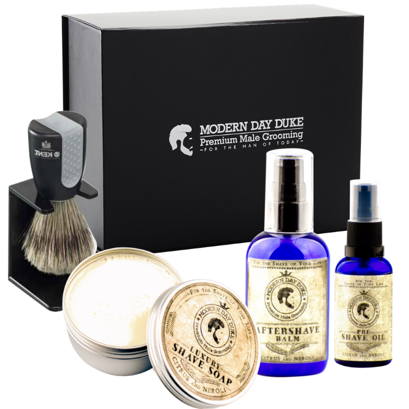 Shaving gift set with shave oil, shave soap, aftershave balm and shave brush