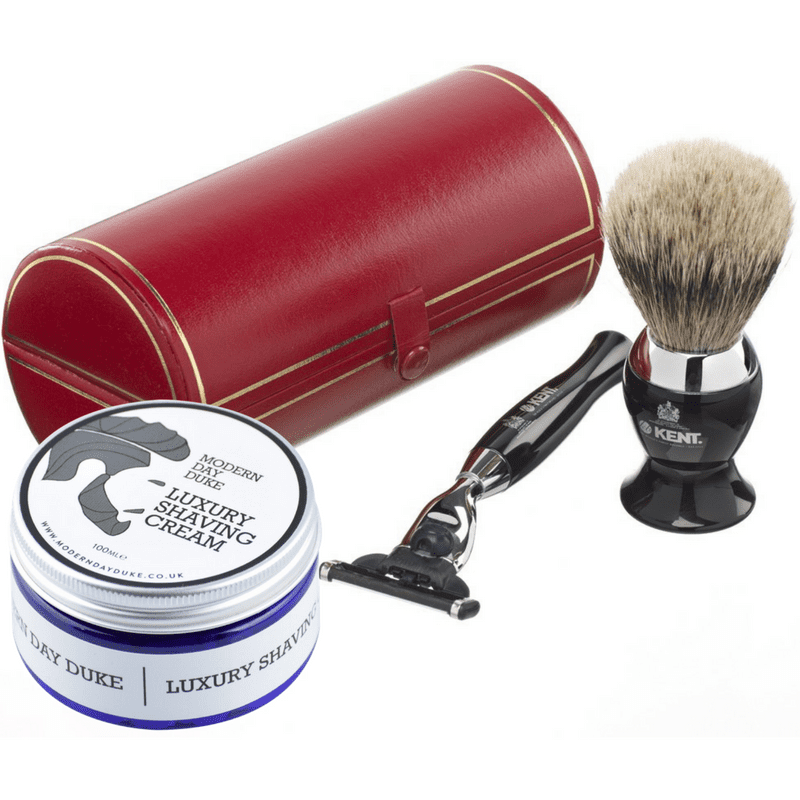 Shave Cream and chrome brush and razor set
