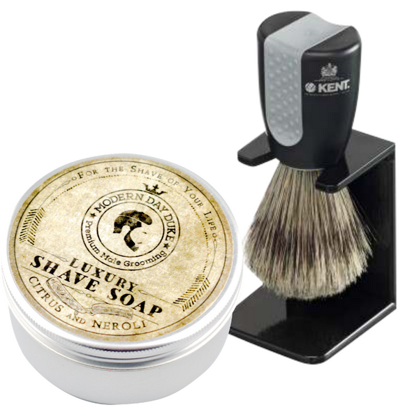 Wet Shaving Shave Brush and Luxury Shave Soap Combination Set