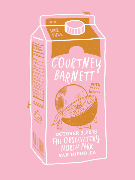 COURTNEY BARNETT [SAN DIEGO - 3 OCTOBER 2018 - MERYL ROWIN] Assorted Tour Posters