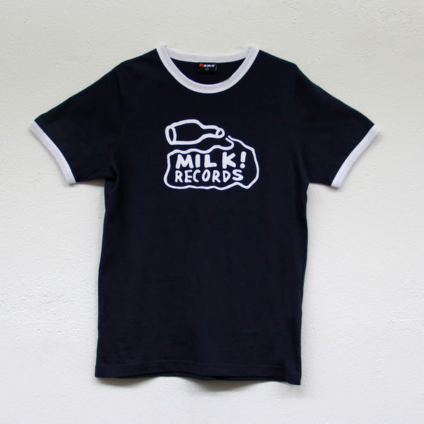 "MILK! RECORDS ""Classic Milk Ringer"" TSHIRT [NAVY/WHITE]"