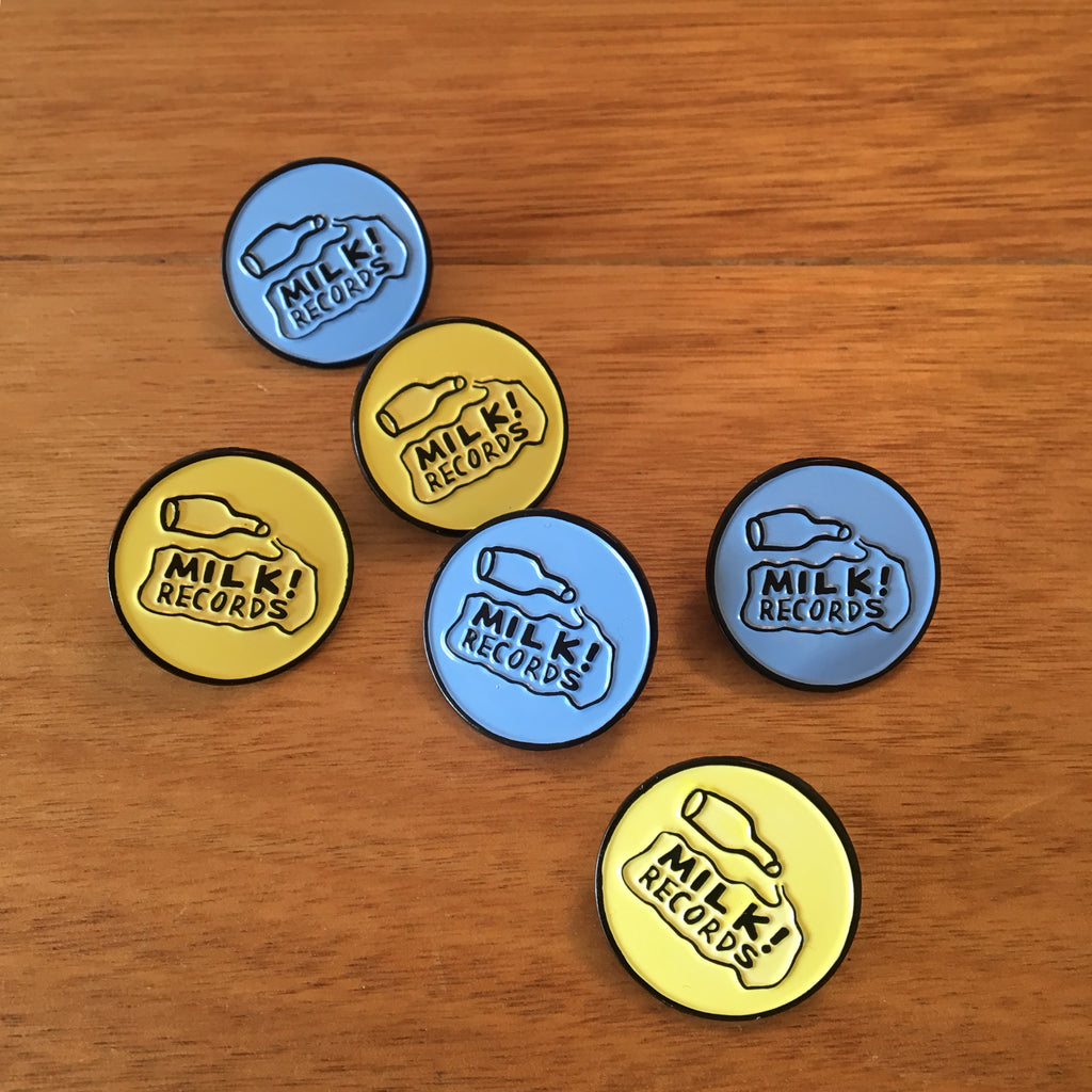MILK! RECORDS milk logo PIN [BLUE / YELLOW]