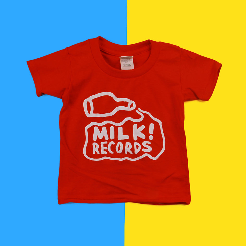 Milk records logo kids t-shirt. White spilt milk logo print on red t-shirt.